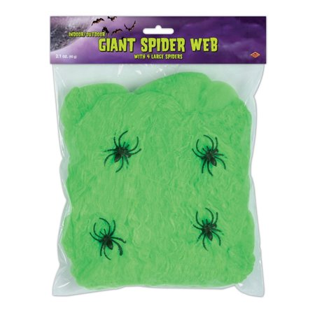 Club Pack of 12 Flame Resistant Giant Green Halloween Spider Web with - Green Halloween Spider Web