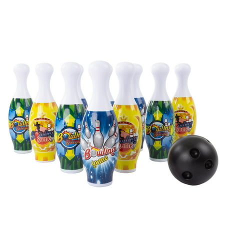 Toy Bowling Pin Set-10 Mini Pins and 2 Balls with Carry Tote by Hey