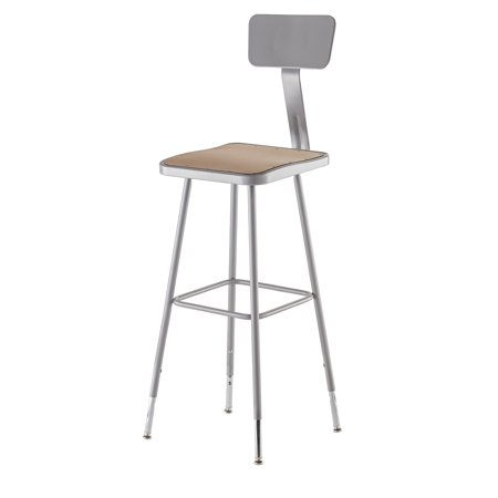 """NPS® 30"""" Adjustable Height Heavy Duty Square Seat Steel Stool With Backrest, Grey"""