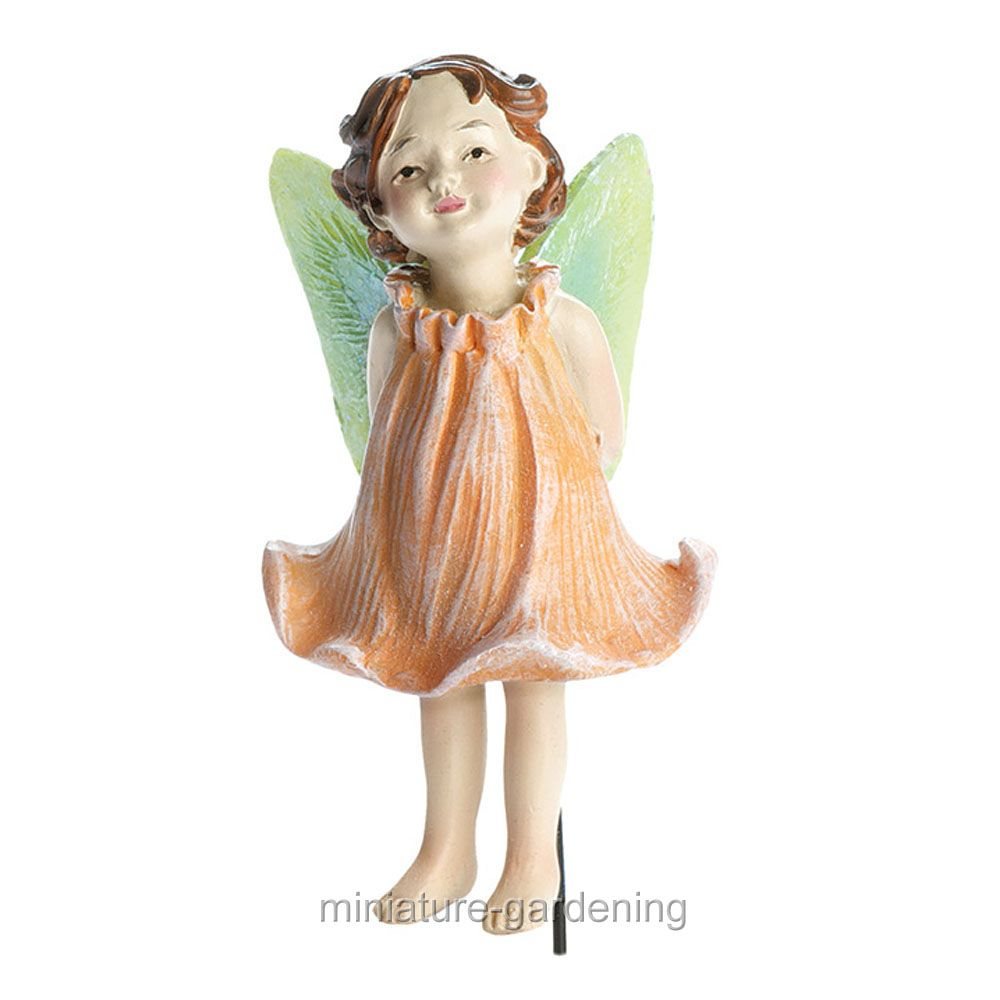 Georgetown Home & Garden Lina, Peach Rose Fairy with Pick for Miniature Garden, Fairy Garden