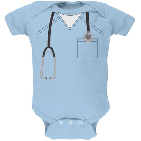 Halloween Doctor Scrubs Costume Light Blue Soft Baby One Piece - Personalized Baby Scrubs