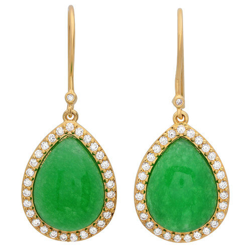 Sterling Essentials Jade Halo Drop Earrings