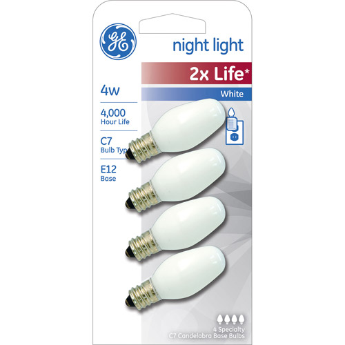 GE 4W Night Light 2X Longer Life Soft White Bulb, 4-Pack