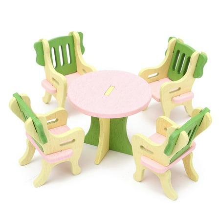 Wooden Dollhouse Furniture Set Miniature Bathroom/ Guest Room/ Bedroom/ Kitchen House Furniture Dollhouse Decoration Accessories Pretend Play Kids Children Toy Gift
