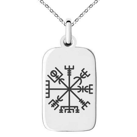 Stainless Steel Vegvisir Viking Compass Engraved Small Rectangle Dog Tag Charm Pendant - Casual Rectangle Pendant
