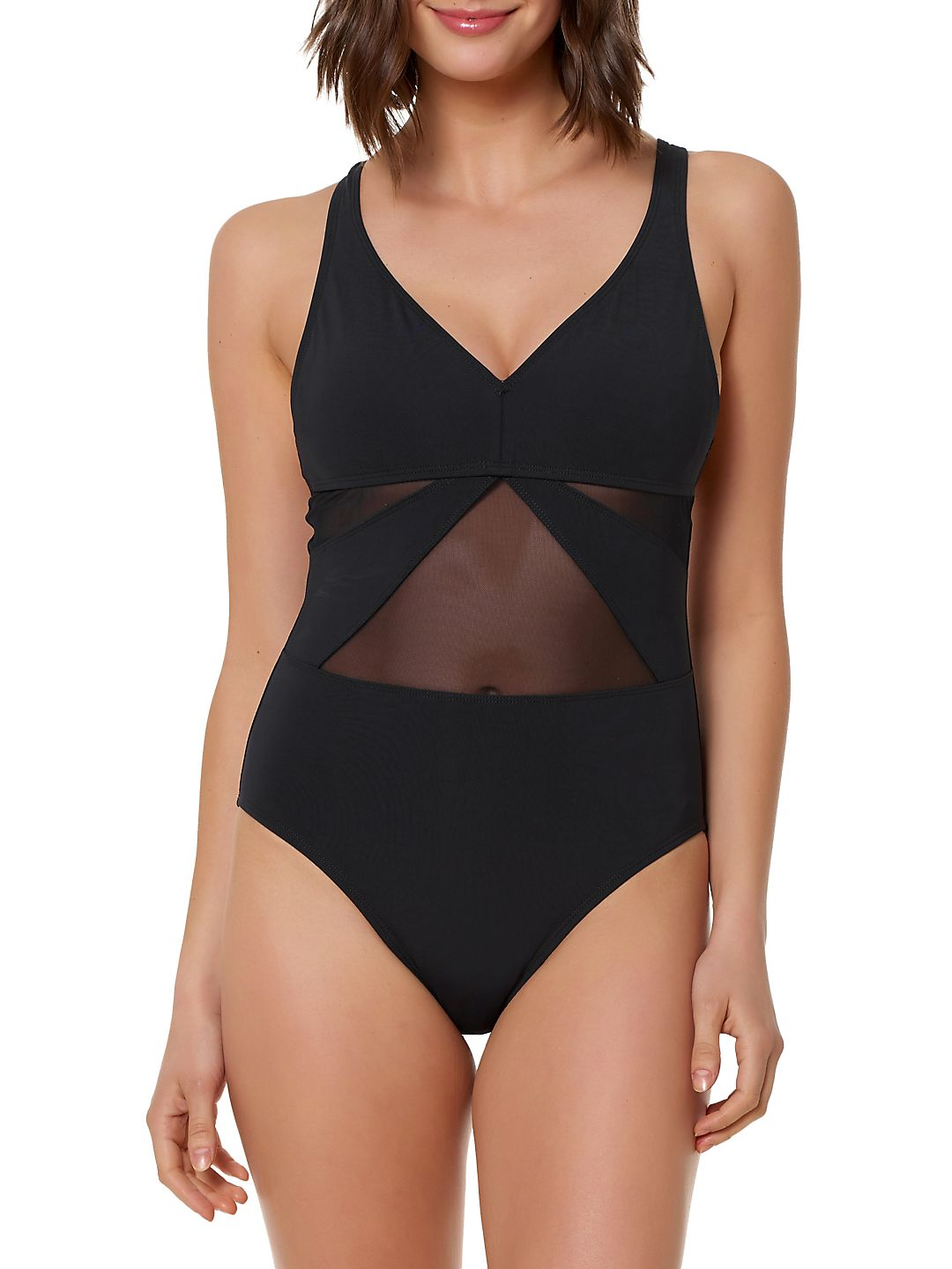 Don't Mesh With Me V-Neck Mesh One-Piece Swimsuit