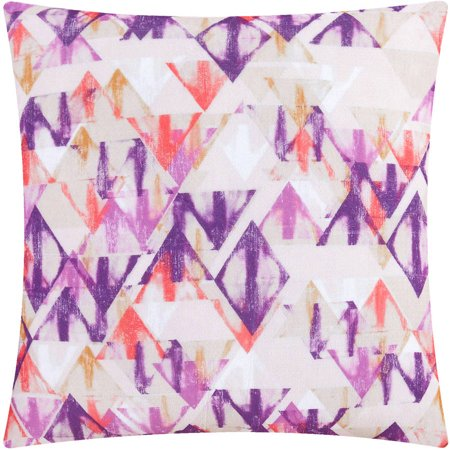 Mainstays Plush Magenta Diamond Decorative Pillow, Set of 2 (Magenta Home)