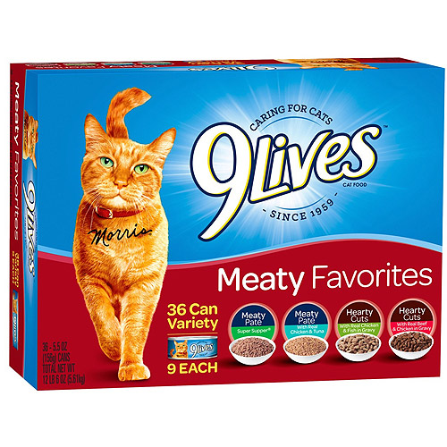 9Lives Meaty Favorites Wet Cat Food Variety Pack, 5.5-Ounce Cans (Pack of 36) by Del Monte Pet Products