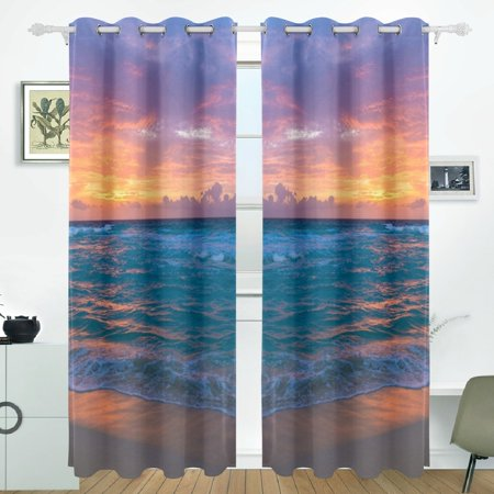 POPCreation Sea Surf Sunrise Waves Sand Ocean Beach Window Curtain Blackout  Curtains Darkening Thermal Blind Curtain for Bedroom Living Room,2 Panel ...