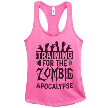 "Womens Basic Tank Top ""Training for the Zombie Apocalypse"" Walking Dead Shirt Gift Large, Fuchsia - Zombie Outfits Womens"