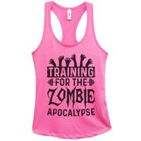 """Womens Basic Tank Top """"Training for the Zombie Apocalypse"""" Walking Dead Shirt Gift Large, Fuchsia"""