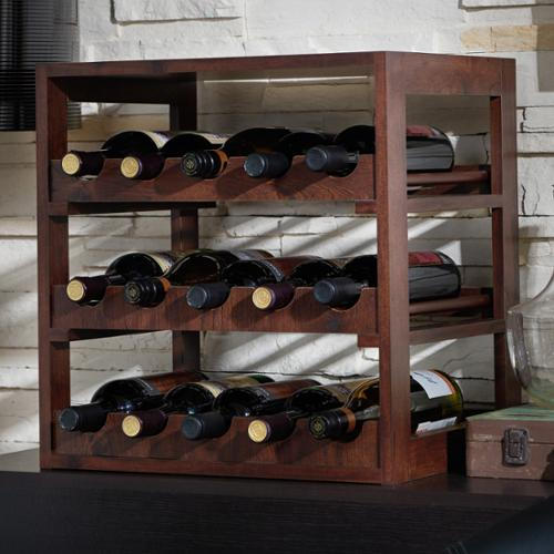 Furniture of America Stacie Rustic Vintage Walnut 15-bottle Wine Rack by Overstock