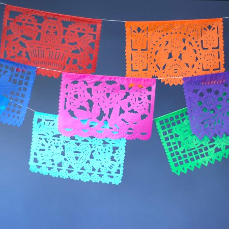 Mexican Papel Picado Tissue Paper Banner (ONE 13-Foot Strand with 10 Cut-Out Designs, Multicolor) - For Fiesta Decorations and Cinco de Mayo - 5 De Mayo Decorations