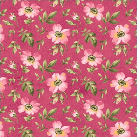 Wild Rose Flannel by Marti Michell Collection~Pink Open Roses on Flannel Fabric by Maywood