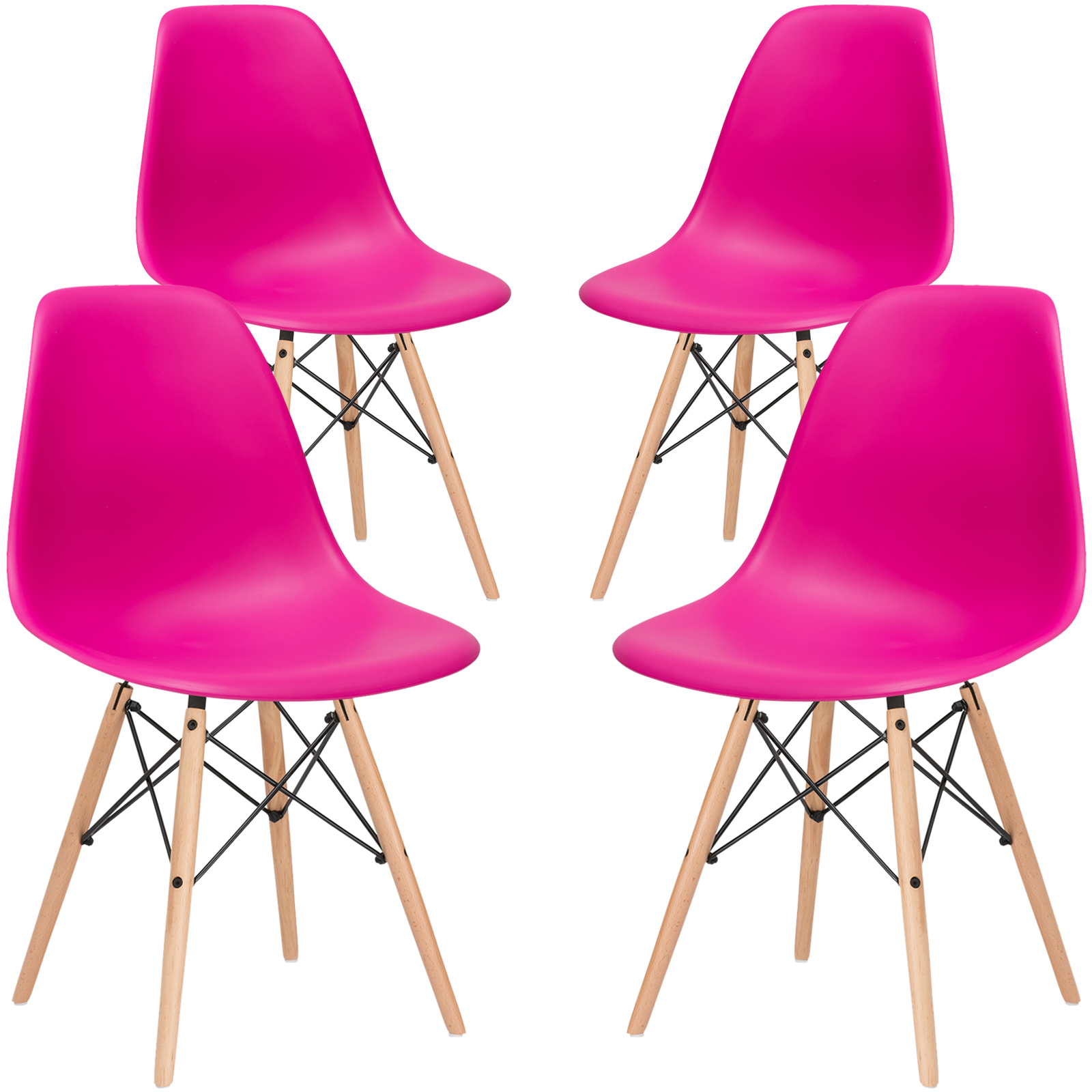 Poly and Bark Vortex Side Chair in Red (Set of 4)
