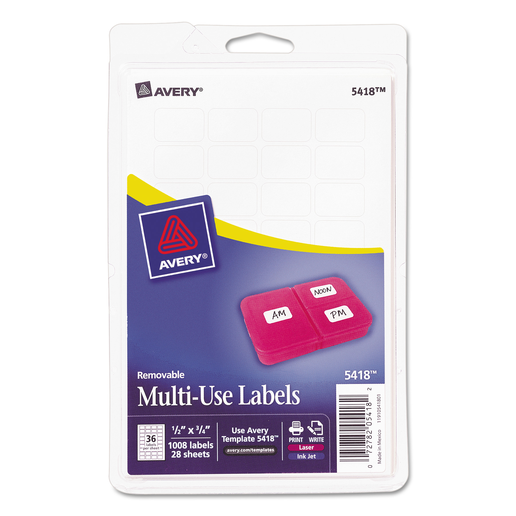 "(2 Pack) Avery(R) White Removable Print or Write Labels 5418, 1/2"" x 3/4"", Pack of 1000"