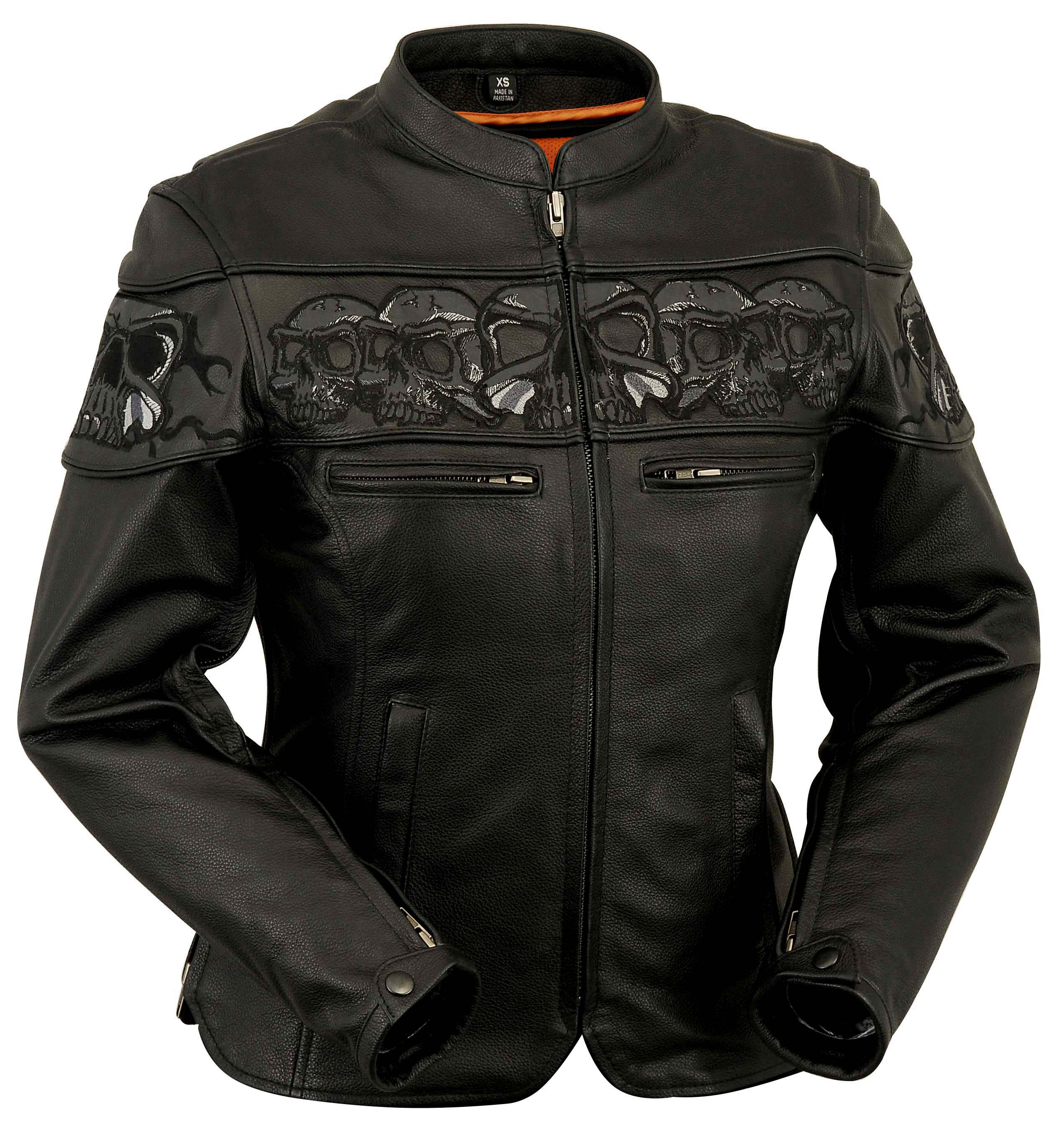 Womens Leather Scooter Jacket w/ Reflective Skulls