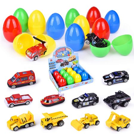 Cars Easter Eggs (12 Toys Filled Easter Eggs, 3.15 Inches Easter Eggs Filled with Different Diecast Cars, Easter Theme Party Favor, Easter Eggs)
