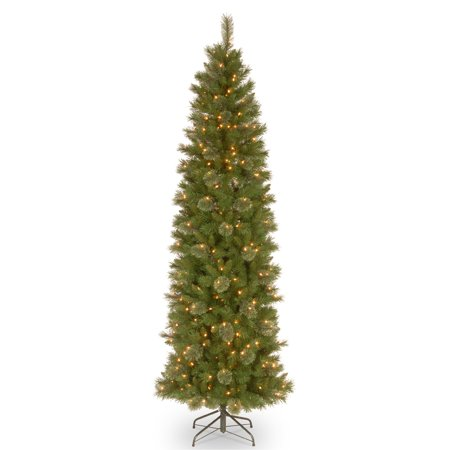 9 ft. Tacoma Pine Pencil Slim Tree with Clear Lights ...