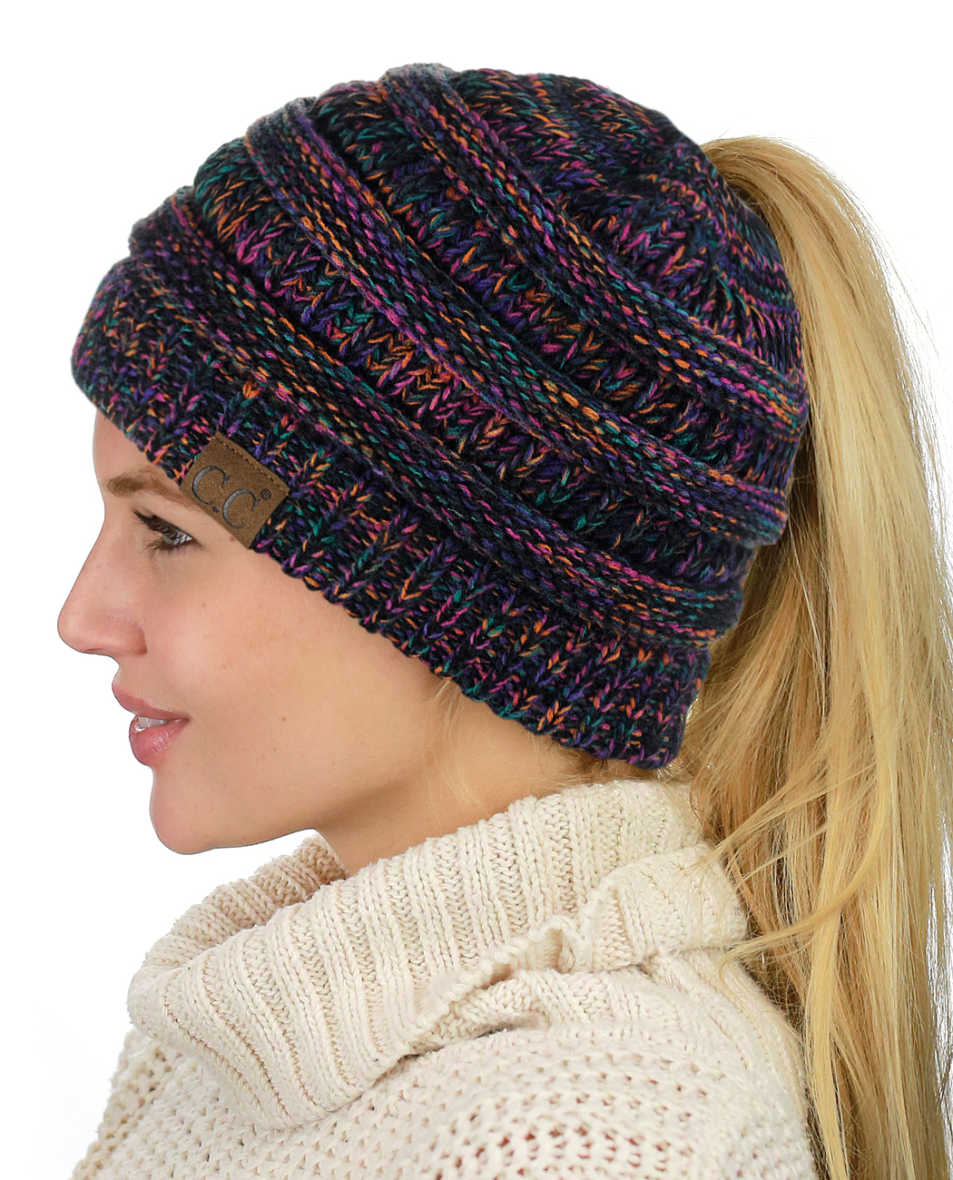 C.C BeanieTail Soft Stretch Cable Knit Messy High Bun Ponytail ... 8012116881f