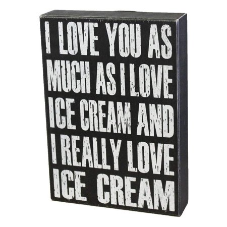 Sign For I Love You (JennyGems Wood Sign I Love You As Much As I Love Ice Cream And I Really Love Ice)