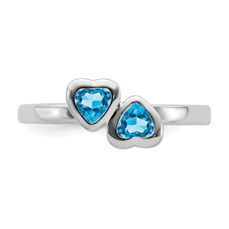 925 Sterling Silver Blue Topaz Double Heart Band Ring Size 5.00 S/love Stackable Gemstone Birthstone December Fine Jewelry Gifts For Women For Her - image 5 of 8