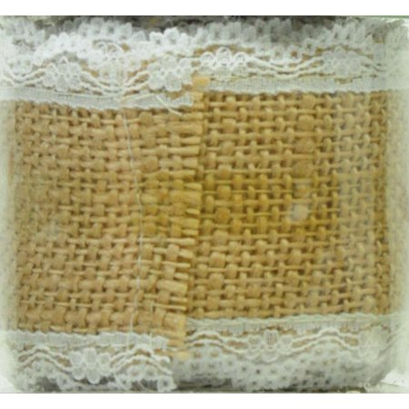 OFFRAY RIBBON 2.5 INCHES BURLAP AND LACE NATURAL 3 - Burlap And Lace Ribbon