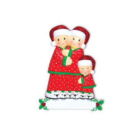 Pajama Family of 3 Personalized Christmas Ornament DO-IT-YOURSELF