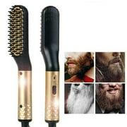 Beard Straightener for Men Electric Hair/Beard Comb (Golden)