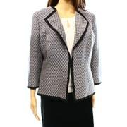 Kasper NEW Blue Women's Size 6 Textured Knit Open Front Contrast Trim Jacket