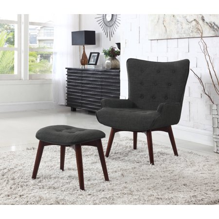 Best Master Furniture Mid Century Asphalt Finish Accent Chair with