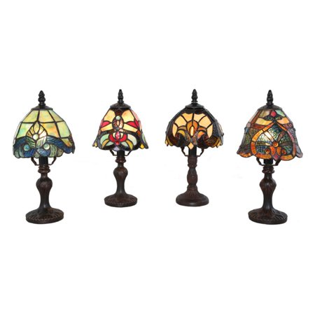 River of Goods 4 Piece Family Favorites Tiffany Mini Accent Lamp Set ()
