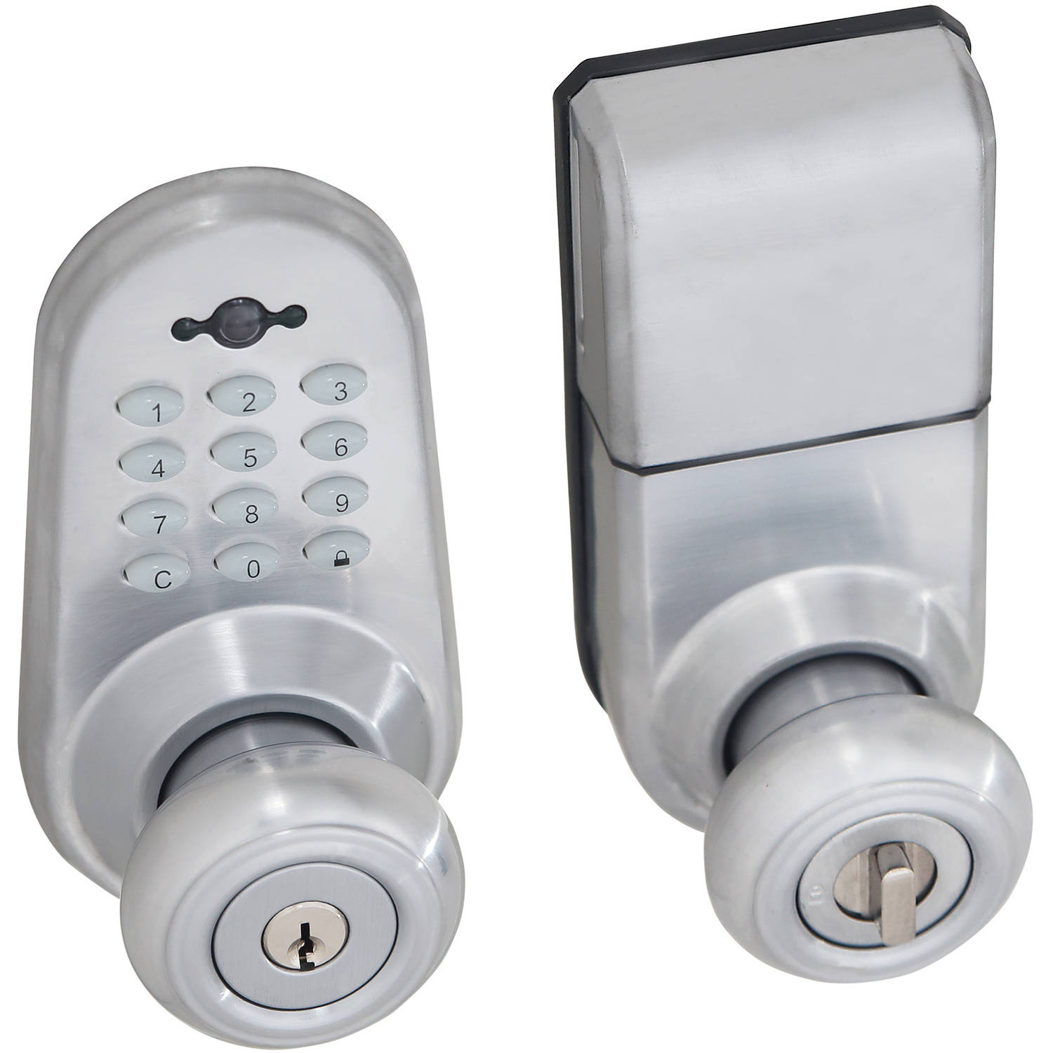 Satin Chrome Digital Door Lock Entry Knob with Remote