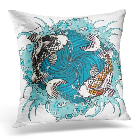 EREHome Realistic Detailed of Two Koi Carps Swimming on Water Waves Colorful Graphic Tattoo Symbolizing Yin Pillow Case Pillow Cover 20x20 inch - image 1 of 1