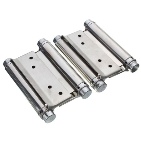 """4PCS 4"""" Inch Stainless Steel Double Action Spring Hinge Hardware Cafe Saloon Door Hinge Swing Free Door Kitchen Gate With Screws - image 4 of 9"""