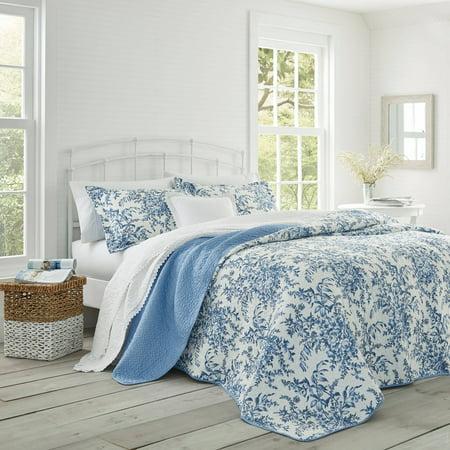 Laura Ashley  3-piece Bedford Blue Reversible Quilt Set