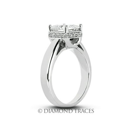 Ideal Cut Radiant Diamond (0.58ctw F-SI1 Ideal Radiant Genuine Diamonds 950Plt Classic Cathedral Ring 3.3mm)