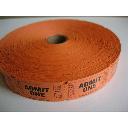 2000 Orange Admit One Single Roll Consecutively Numbered Raffle Tickets, 2000 Orange Admit One Single Roll Raffle Tickets By 50/50 Raffle Tickets Ship from US (Admit 1)