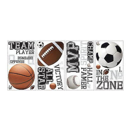 ALL STAR SPORTS 24 BiG Wall Stickers Football Basketball Room Decor Decals