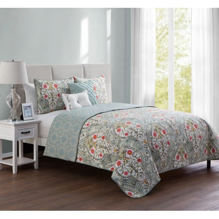 VCNY Home Blue Evangeline 4/5 Piece Reversible Bedding Quilt Set, Shams and Decorative Pillows -