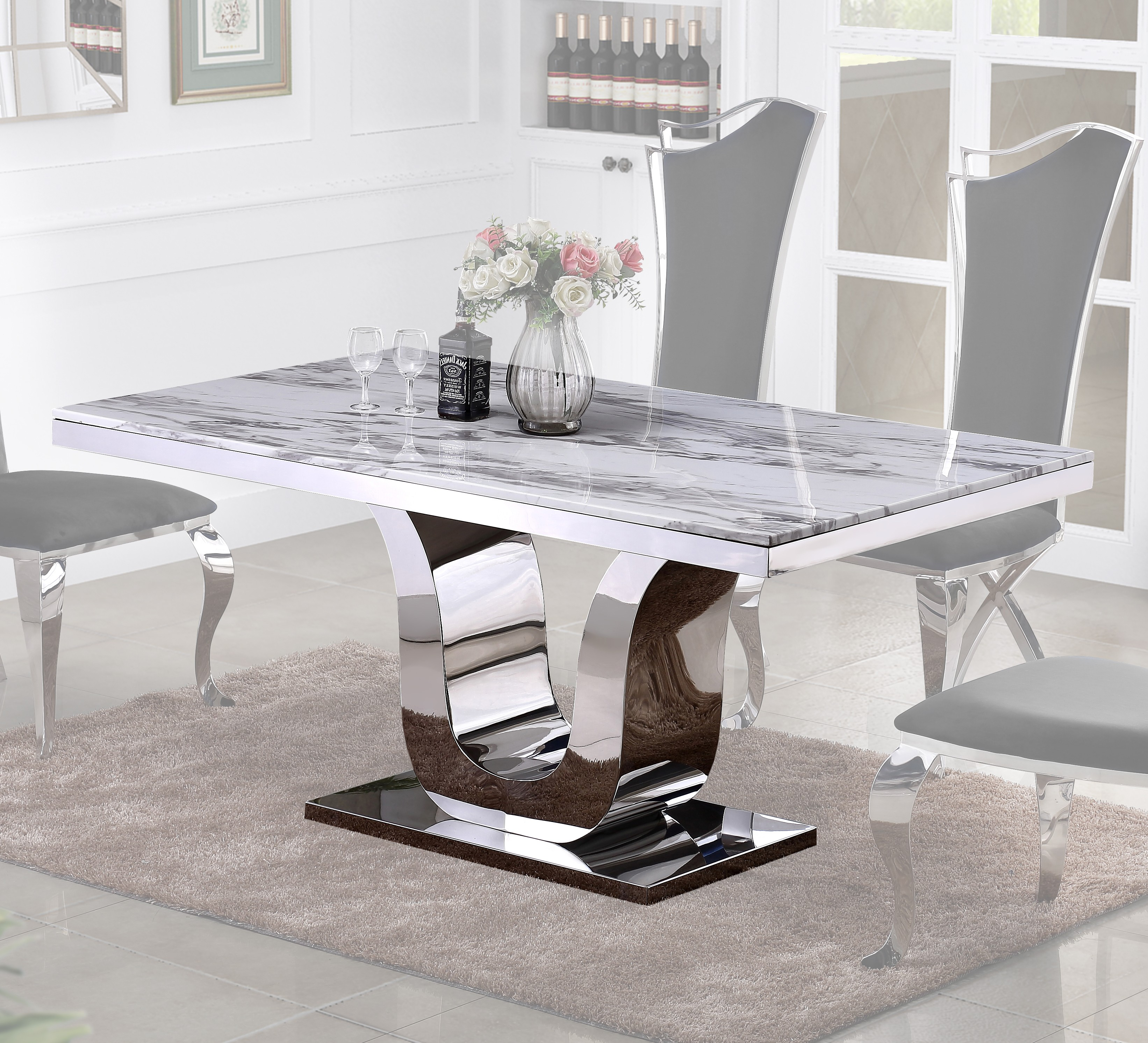 Marble Top U0026 Stainless Steel Base Dining Table