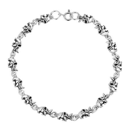 Safari Mini Elephant Parade .925 Sterling Silver Link Bracelet - Safari Jewelry