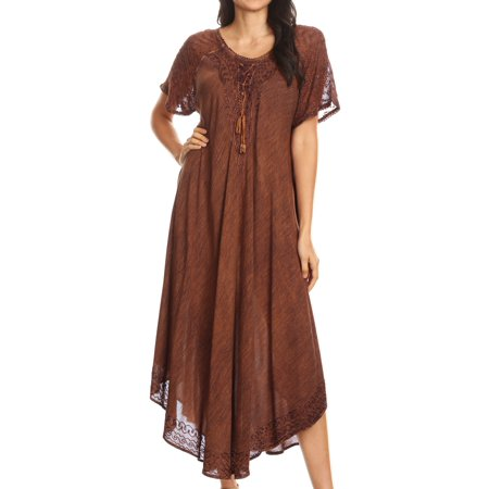Sakkas Helena Embroidered Nightgown / Women Sleepwear with Eyelet Sleeves - Chocolate - One Size (Embroidered Eyelet Gown)