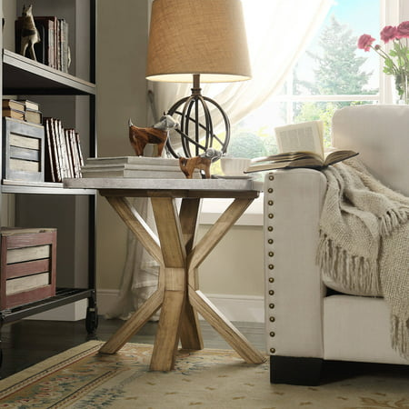 Chelsea Lane Wood and Concrete End Table, Light Brown Wood and Concrete