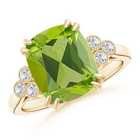 August Birthstone Ring - Cushion Peridot Ring with Trio Bezel Diamonds in 14K Yellow Gold (11x9mm Peridot) - SR1067PD-YG-AAA-11x9-5.5