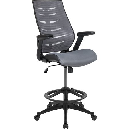 High Back Dark Gray Mesh Ergonomic Drafting Chair with Adjustable Flip-Up Arms