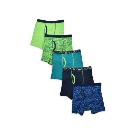Wonder Nation Boys Underwear, 5 Pack Space Dye Boxer Brief Sizes 6/7 - 18 and Husky