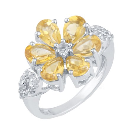 Sterling Silver with Natural Citrine and White Topaz Flower Ring ()