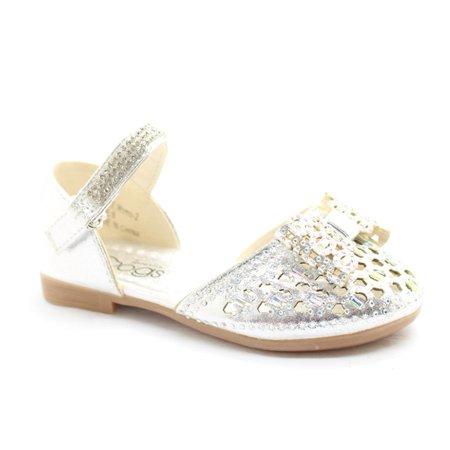 Little Girls Silver Glitter Bow Rhinestone Strap Dress Shoes - Silver Girls Shoes
