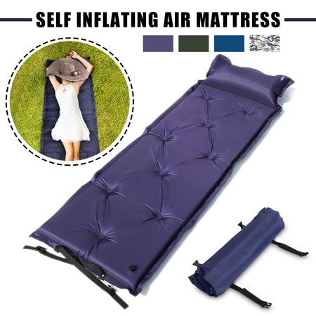 Outdoor Polyester Camping Self-Inflating Air Mat Mattress Pad Pillow Waterproof Hiking Sleeping Bed 4